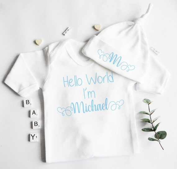 WELCOME TO THE WORLD BABY /'NAME/' PERSONALISED CUSTOM BABY GROW VEST HEART