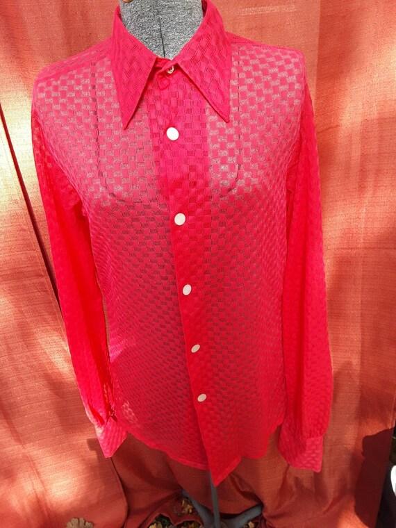 Lovely sheer real red blouse
