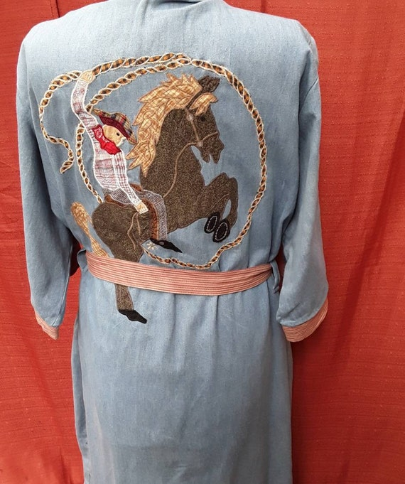 Classic cowgirl/boy full length cotton robe.