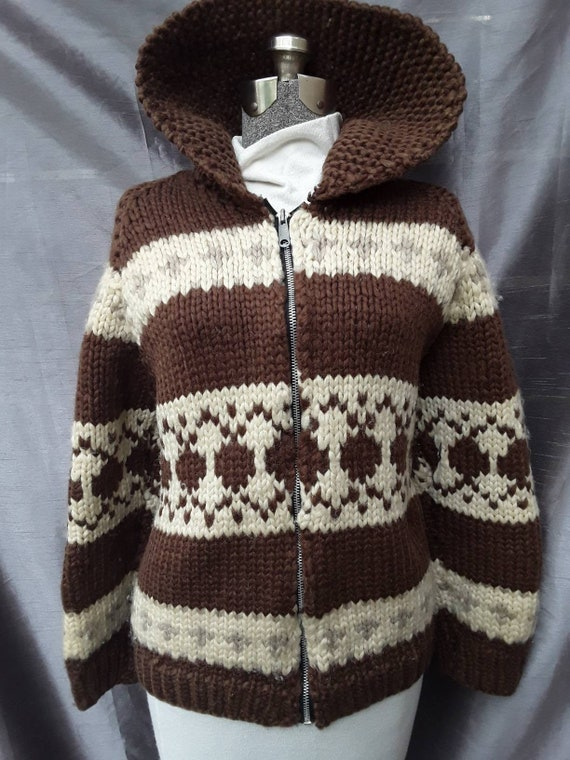 Brown warm and wooly Cowichan sweater