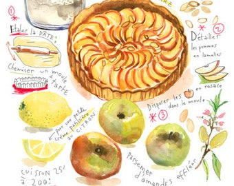 Design for kitchen, recipe of the Apple Pie, pastry, culinary Art watercolor, wall decor for foodies, A4