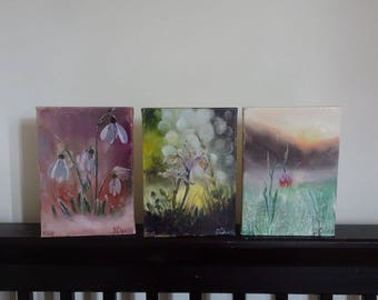 Set Of Three Picture  Flowers Oil Painting,Tender Spring Flowers,Snowdrops Oil Painting,Iris Oil Paintning,Wild Tulip Oil Painting,small pic