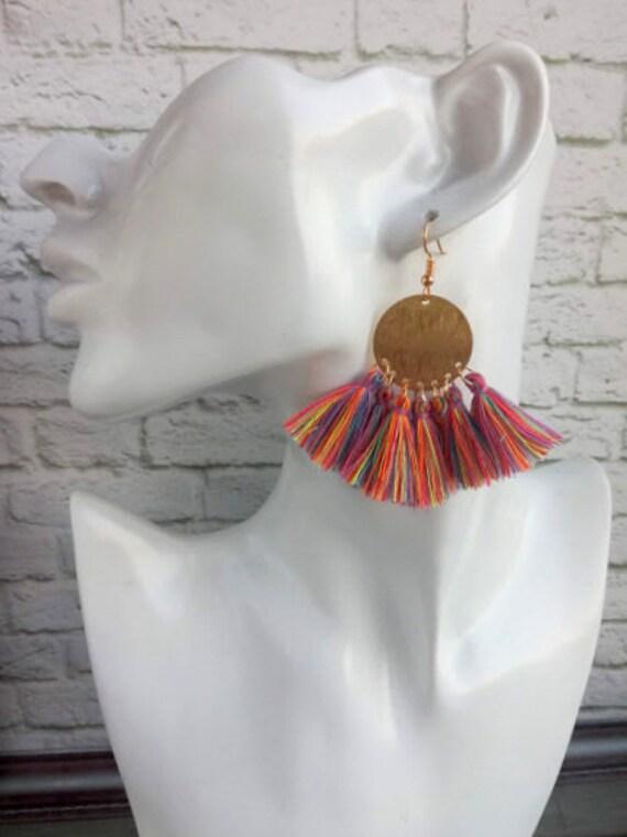 Burgundy tassel earring Colorful fringe earring Cotton mini tassel Brass disc statement earring  Boho chic 21st Birthday Gift
