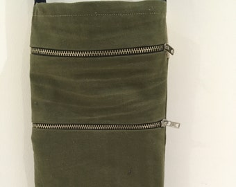 Small khaki cross body 'travel bag'