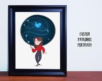Custom Patronus portrait,Wizarding portrait,Patronus illustration,custom gift,digital file,custom patronus bookmark,cartoon portrait