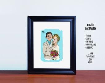 Custom portrait,Anniversary portrait,Wedding portrait,Birthday portrait,family portrait,couple portrait,Gift,Anniversary gift,Digital File