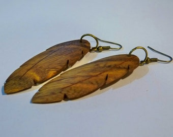"""Earrings """"Feather"""" wood with inlay SIPO"""