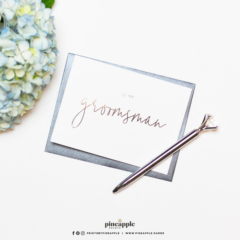 To My Groomsman Styled Silver Foil Wedding Cards Be My Groomsman Silver Foil To My Groomsman Card To My Groomsman Card Groomsman Card