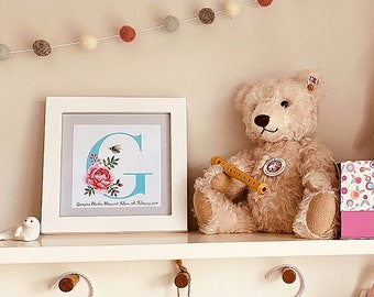 Customised Alphabet Letter Print  - Personalised for Birthday, Christening, Newborn, Anniversary, Retirement and all Special Occasions