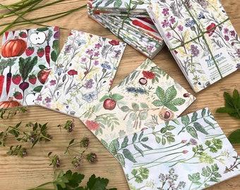 A6 Art Notebooks | Set of 4 | Watercolour Botanical Designs | Herbs Wildflowers Pollinators Bees Butterflies Vegetables Allotment Trees