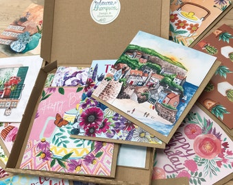 Greetings Card Bundle with Box | 10 Illustrative Indie Art Cards with Watercolour Botanical Designs