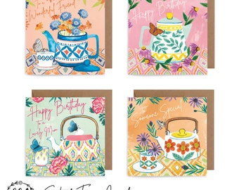 Multi Packs of 4 - Watercolour Art Card -  Birthday, Thank You, Tropical, Anniversary, Congratulations, Newborn, New Home, Christmas, Floral