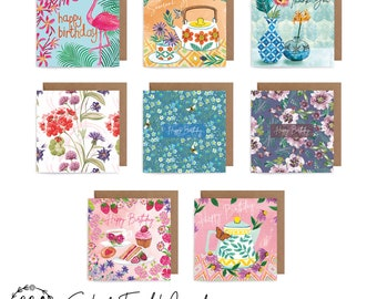 Multi Packs of 8 - Watercolour Floral Art Cards - Birthday, Thank You, Tropical, Anniversary, Congratulations, Newborn, New Home