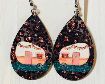 Camper Teardrop Dangle Drop Earrings Sparkly Vintage