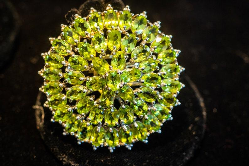 8.5 6x4 Top Rich Green Peridot Ring Sz