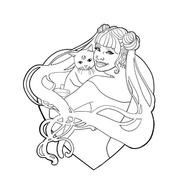 Coloring Page Sailor Moon And Luna Line Art Etsy