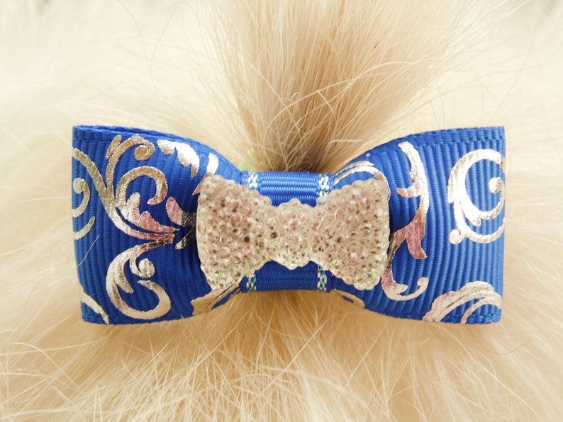 58 single loop 4th of July Independence day patriotic yorkie bow+ Mo/'s USA Dog Bow