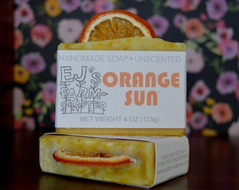 Orange Sun, Farm-Crafted Soap, Handcrafted Soap, Cold Process Soap, Natural Soap, Unscented Soap