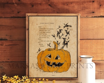 Vintage Halloween Pumpkin, Farmhouse Halloween Decor, Art Print