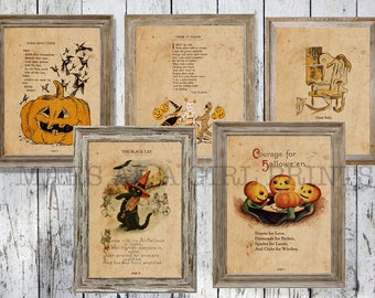 Rustic Farmhouse Halloween Decor, Set of 5 Vintage Art Prints