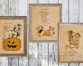 Rustic Farmhouse Halloween Decor, Set of 3 Vintage Art Prints