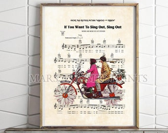 Harold and Maude, If You Want to Sing Out, Sing Out, Lyrics, Cat Stevens, Music Sheet, 70s Art, Print