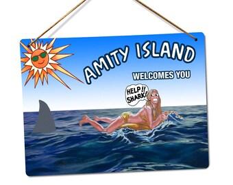 0181028e7 Metal Wall Sign - Amity Island Shark Billboard