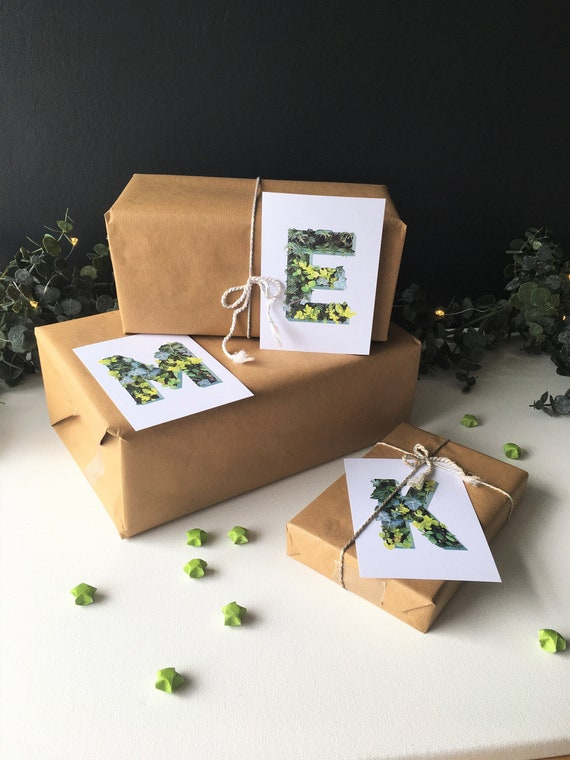Leaf Initial Postcards - Choose your letters - Christmas decor