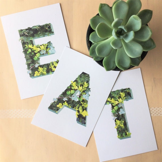 Leaf Initial Postcards - Choose your letters - Spring decor - A B E H I J L N O P R S T available
