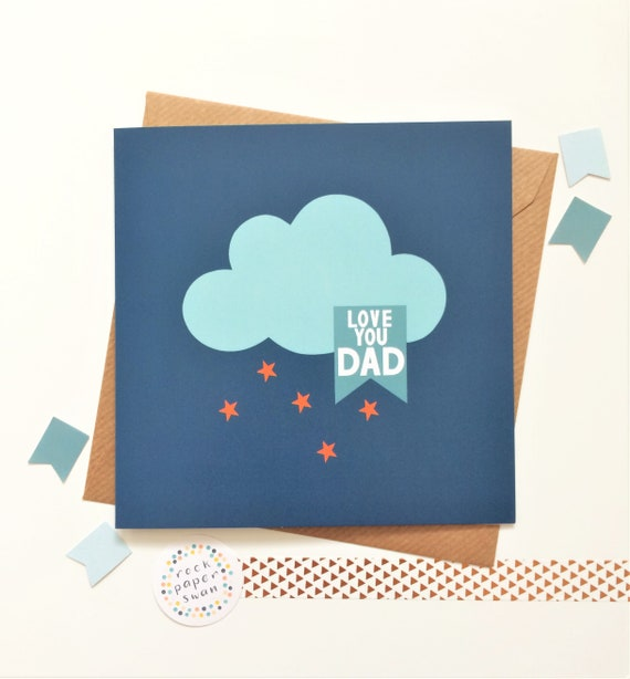 Father's Day Card - Love you Dad - blue and orange - clouds and stars