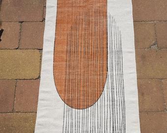 Handwoven Cotton Rug in Seventies Style Print in Burnt Orange