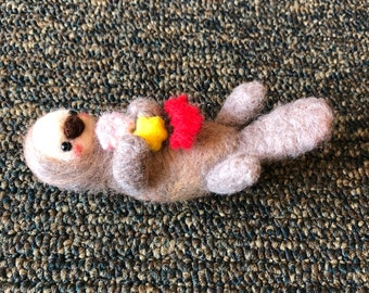 Needle Felted Otter with Clam, Star, and Crab