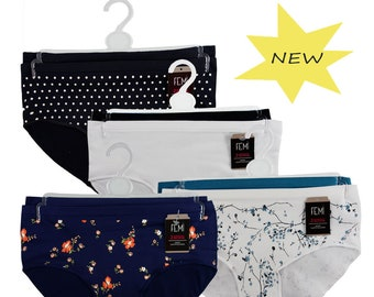 967cbaaf5bb4 FEM Women's Seamless Boy Brief Panties Underwear Stripes/Prints and  Matching Solids Stretch Poly Nylon Fabric - 4 Pack #386