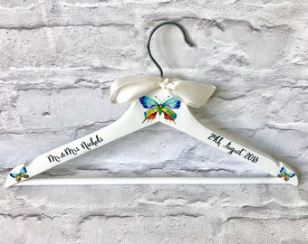 ded72f8625 Elegant Personalised Butterfly Wedding Hanger - Personalised Hanger - Wedding  Hanger