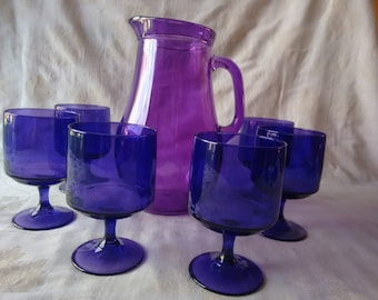 Purple/Amethyst Glass Jug & Goblets