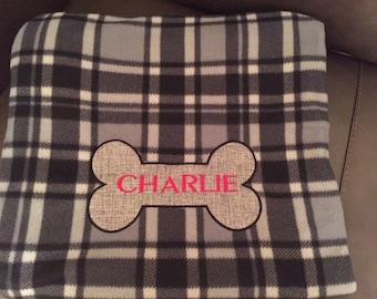 Personalised bone dog blanket