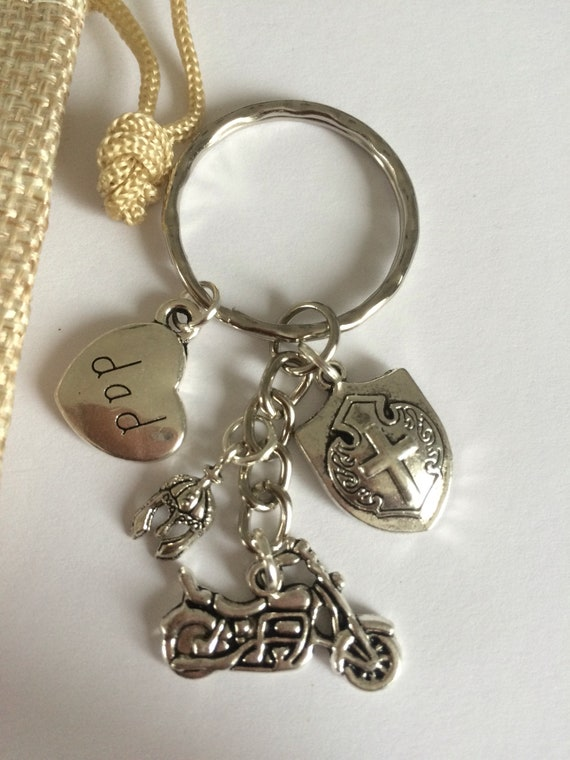 Biker Dad Keyring Protection Charms Helmet Shield Charms Heart Etsy