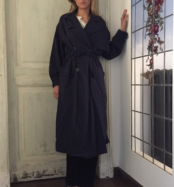 Vintage Navy trench coatwoman long trenchcoat/spri