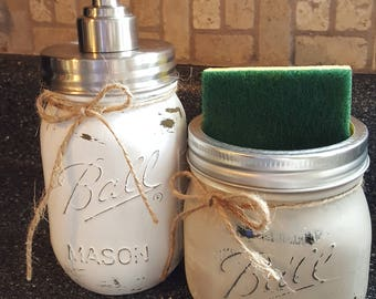 Mason Jar Kitchen Set, Soap Dispenser and Sponge Holder, Mason Jar Soap Pump and Sponge Holder