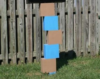 Stacked Block (blue brown) Fun Mailpost