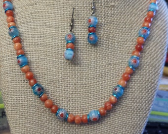 Handcrafted by zona aventurine and millifiori accent beads and earrings