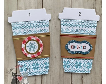 Blue Holiday Coffee Cup Gift Card Holder
