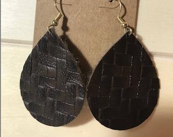Brown Lattice Teardrop Faux Leather Earrings