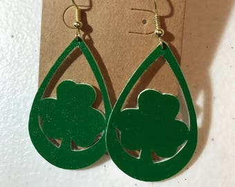 St. Patrick's Day Green Faux Leather Clover Earrings