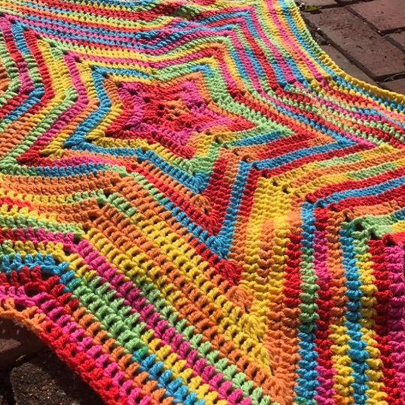5 Point Star Customisable Variegated Yarn Baby Blanket Etsy