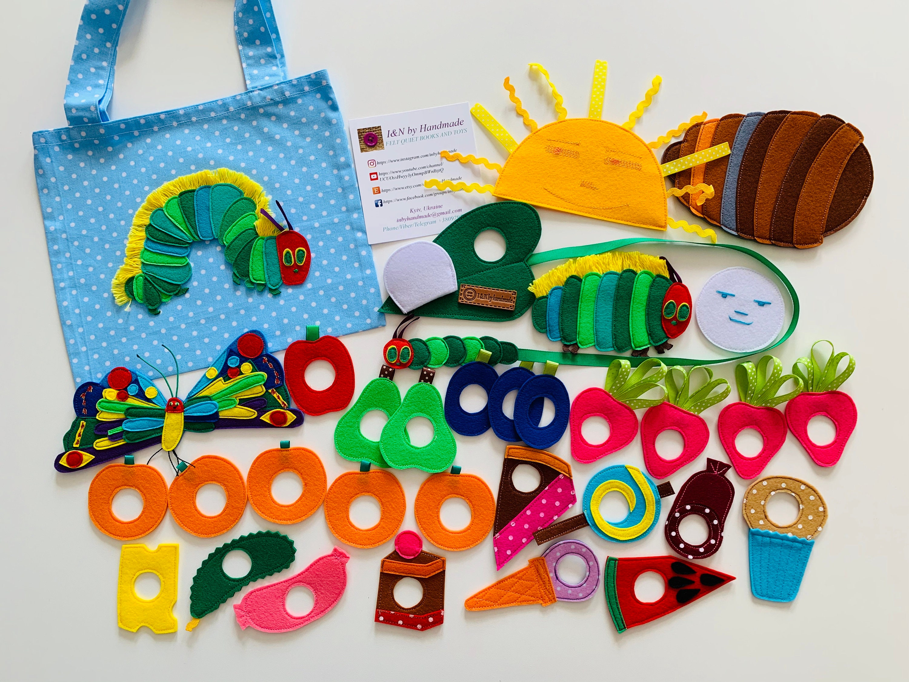 Very Hungry Caterpillar felt set developing sensory interactive game with  holes