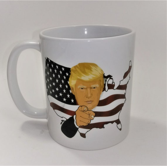 Trump American Flag Coffee Mug Etsy