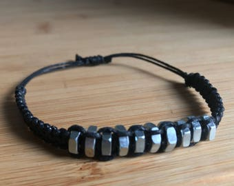 Silver Hex Nut Bracelet- Adjustable