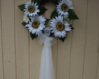 Sunflower tulle twig wreath wedding bridal door decor white flower christening shower