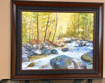 Smoky Mountains, West Prong Little Pigeon River, Smoky Mountains National Park, Original Oil, Mountain river,Rapid Water